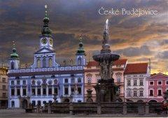 Pohlednice Č. Budějovice 03 kašna mraky Binder