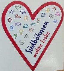 Samolepka Jižní Čechy opravdová láska srdce bílé…