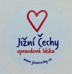 Samolepka Jižní Čechy opravdová láska kulatá CZ