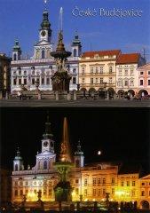 Pohlednice Č. Budějovice 17 náměstí den a noc…