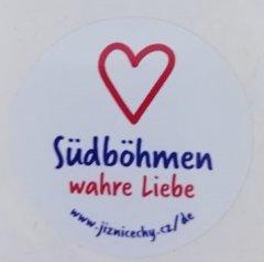 Samolepka Jižní Čechy opravdová láska kulatá DE