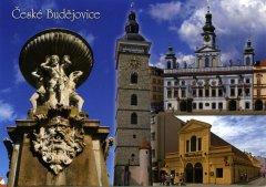 Pohlednice Č. Budějovice 32 mix kašna radnice…