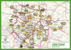 JČP Trhací mapa - Jižní Čechy + seznam TIC